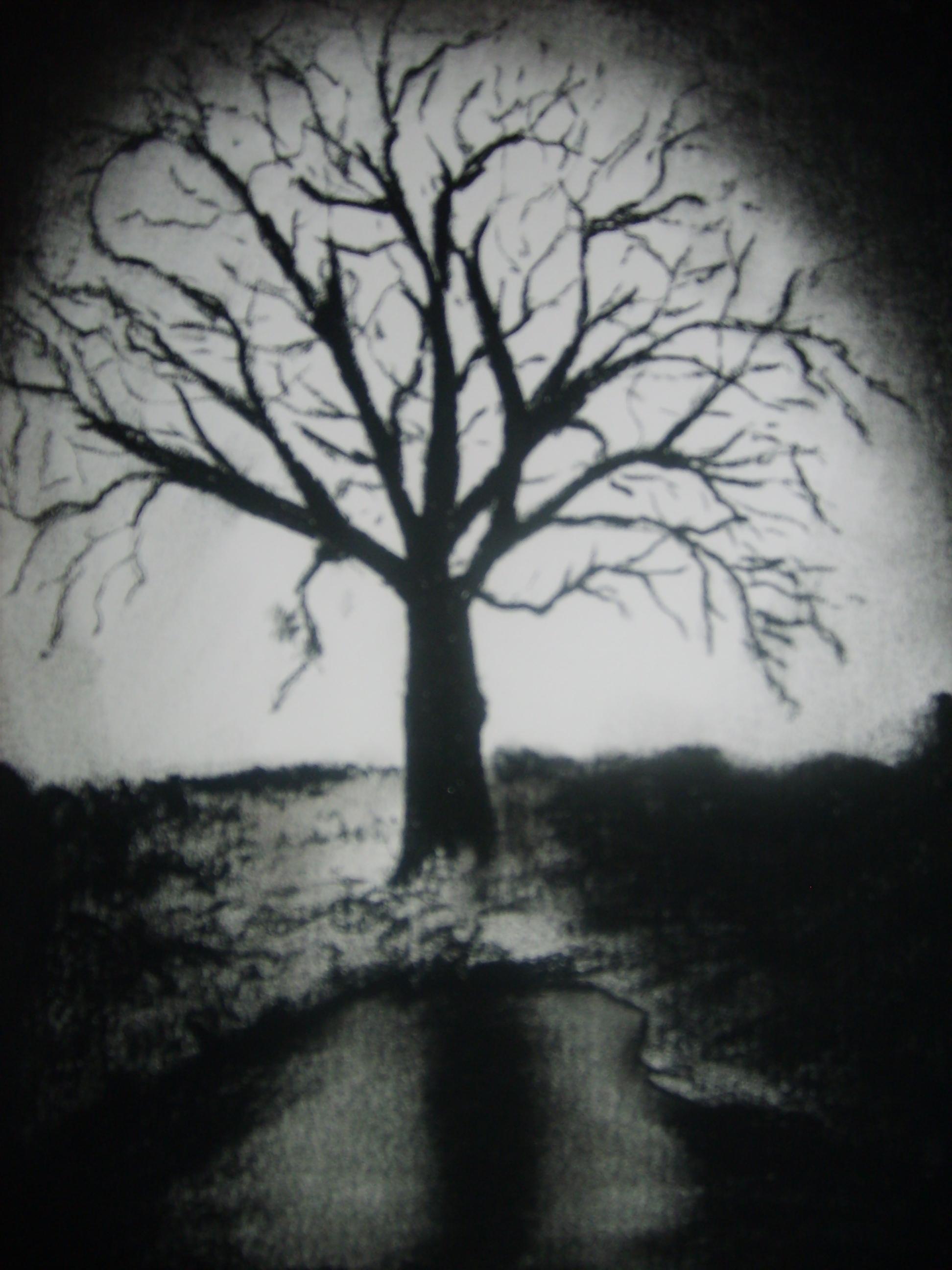 Black and White Tree   aaron simcik painting